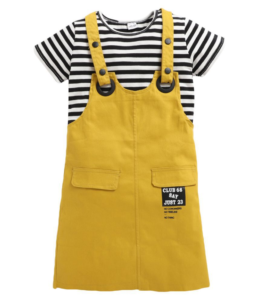 Hopscotch Girls Cotton and Polyester Solid Pinafore And T-Shirt in Yellow Color For Ages 5-6 Years (SYB-2901588)