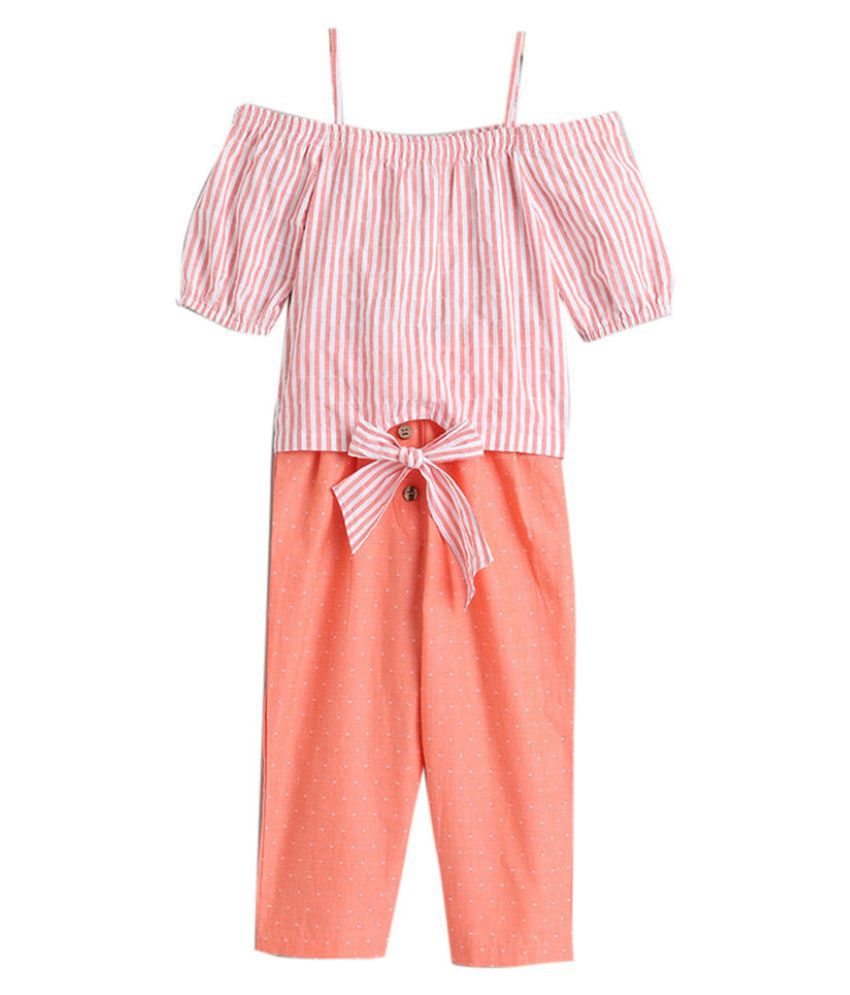 Hopscotch Girls Rayon and Viscose Stripes Printed Top And Solid Pant in Peach Color For Ages 4-5 Years (0PT-3423317)
