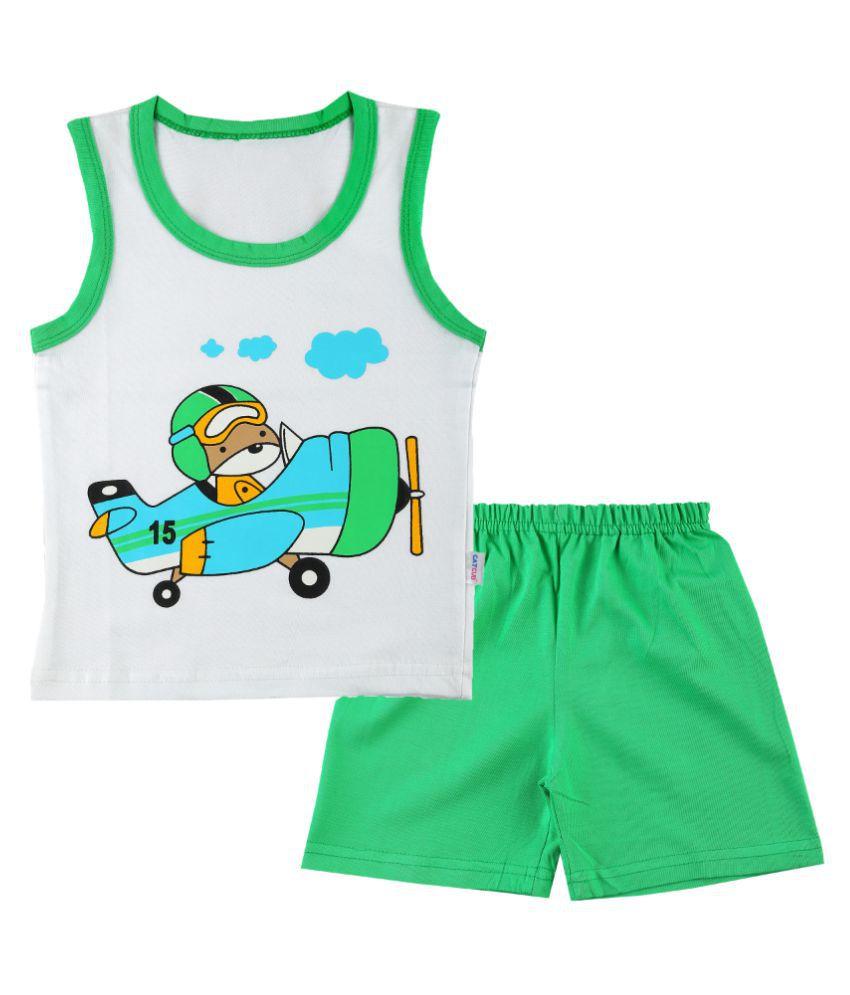 CATCUB Boy's & Girl's Cotton  Printed Clothing Set (Green)