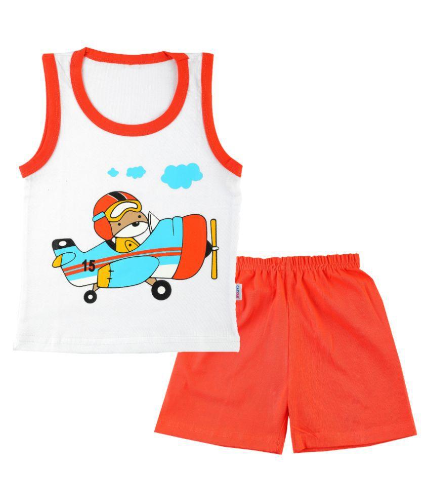 CATCUB Boy's & Girl's Cotton  Printed Clothing Set (Orange)
