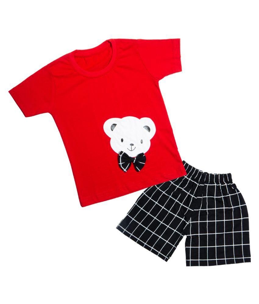 CATCUB Kids Cotton Teddy Printed Clothing Set (Red)
