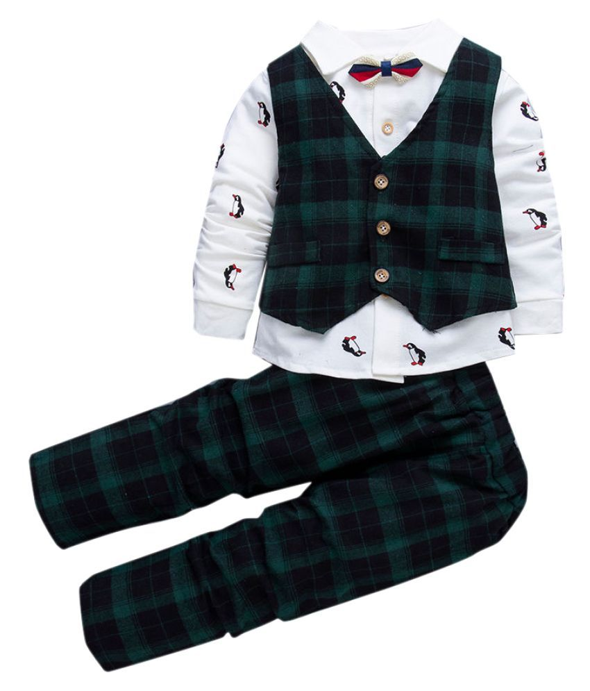 Hopscotch Boys Cotton, Polyester Checks Waistcoat With Shirt Attached Bow And Pant Set in Green Color For Ages 3-4 Years (SN-2139910)
