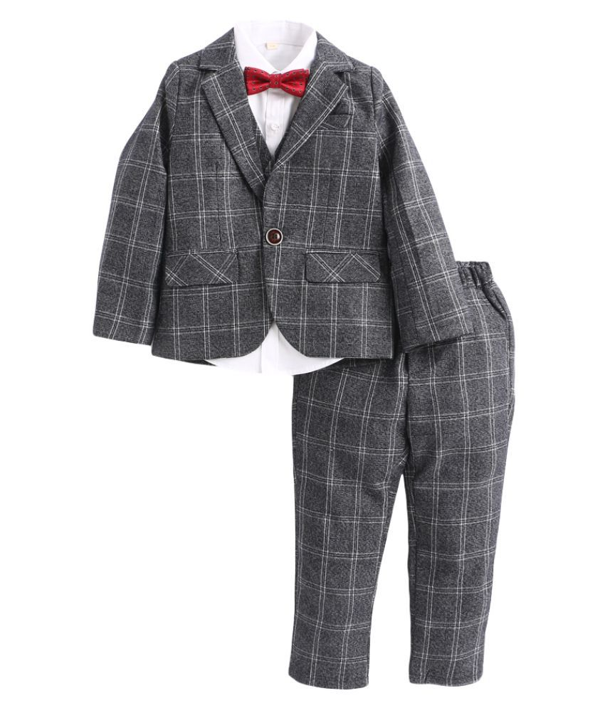Hopscotch Boys Polyester Fiber Cotton Checked Applique Bow Shirt Waistcoat And Pant Set With Blazer in Gray Color For Ages 5-6 Years (HWT-2044705)