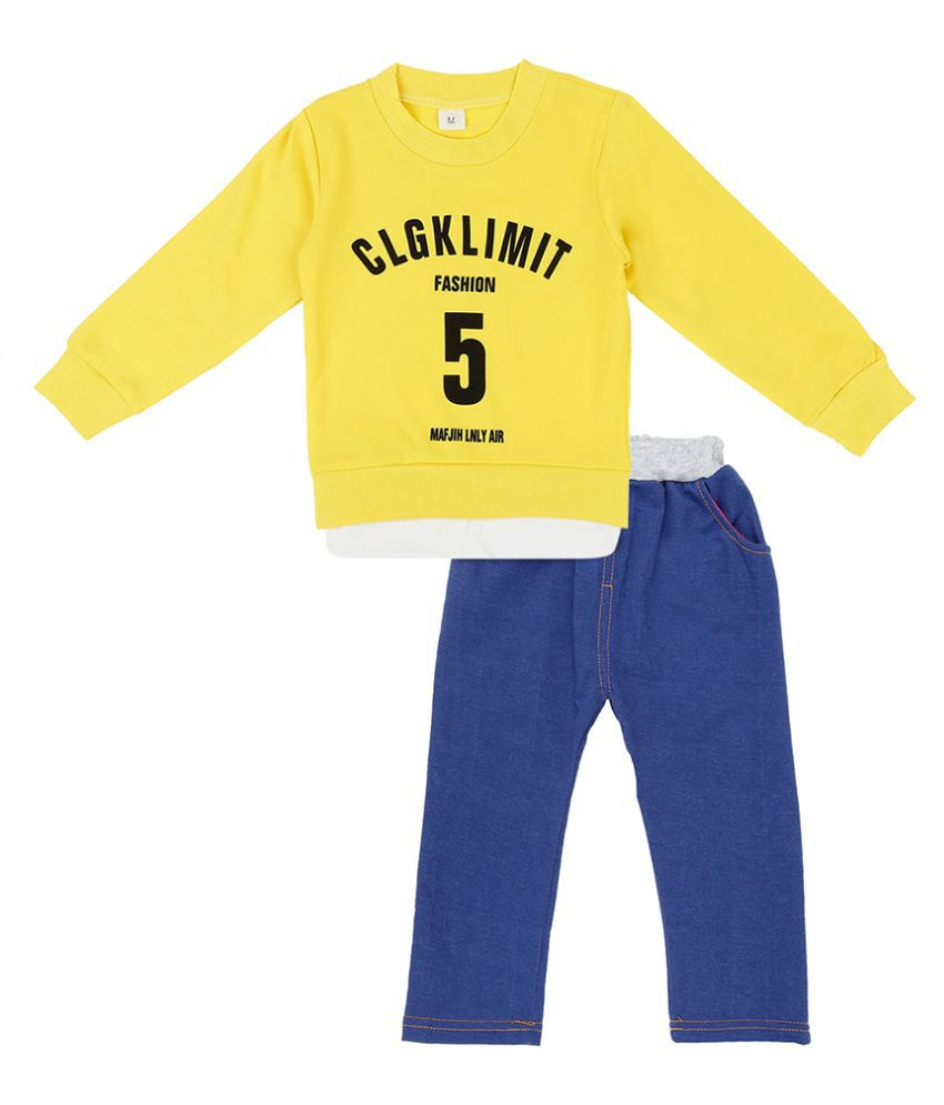 Hopscotch Boys Spandex, Polyester Fiber Full Sleeves Text Print Sweatshirt And Pant Set in Yellow Color For Ages 2-3 Years (LSB-2663817)