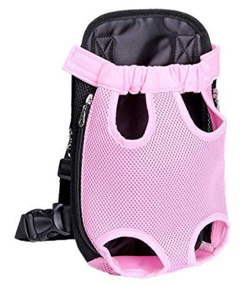 Emily Pets Nylon Mesh Pet Cat Carrier Backpack Front Backpack Net Bag Tote Sling Dog Carrier (Pink)