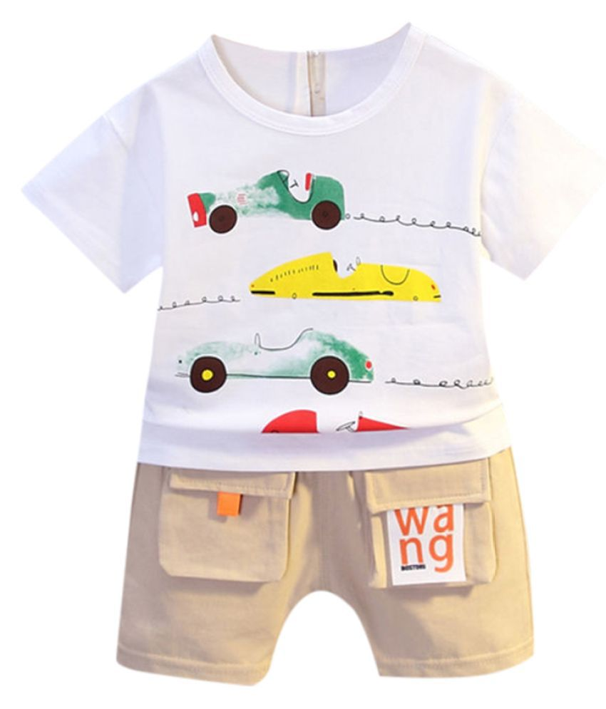Hopscotch Boys Cotton Polyster Half Sleeves Vehicle Printed T-Shirt and Short Set in White color for Ages 4-5 Years (BD9-3410848)