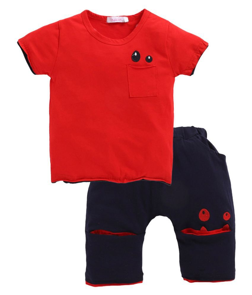 Hopscotch Boys Cotton spandex Print Half Sleeve T-Shirt& Short Set in Red color for Ages 5-6 Years (MDX-3122100)