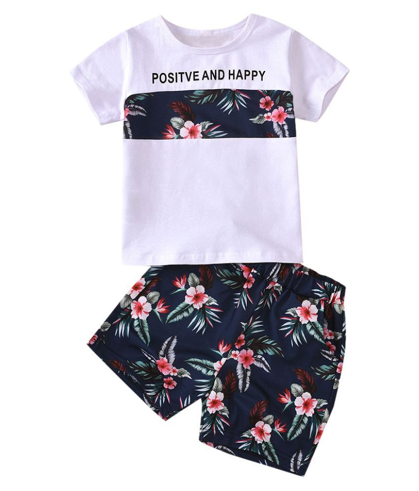 Hopscotch Boys and Girls Cotton Over Print Half Sleeves Top And Short Set in Blue color for Ages 4-5 Years (JIG-3057732)