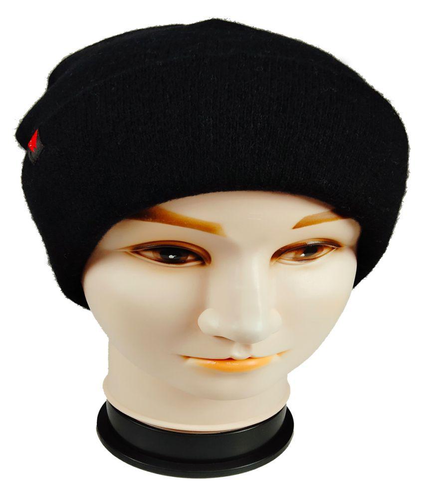 WARMZONE Black Plain Wool Caps
