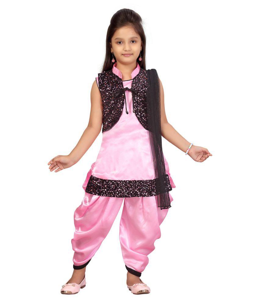 Aarika Girls Pink Color Silk Patiala Suit Set