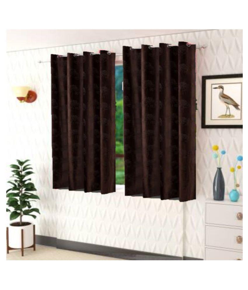 DealsDen Set of 2 Window Semi-Transparent Eyelet Polyester Curtains Brown