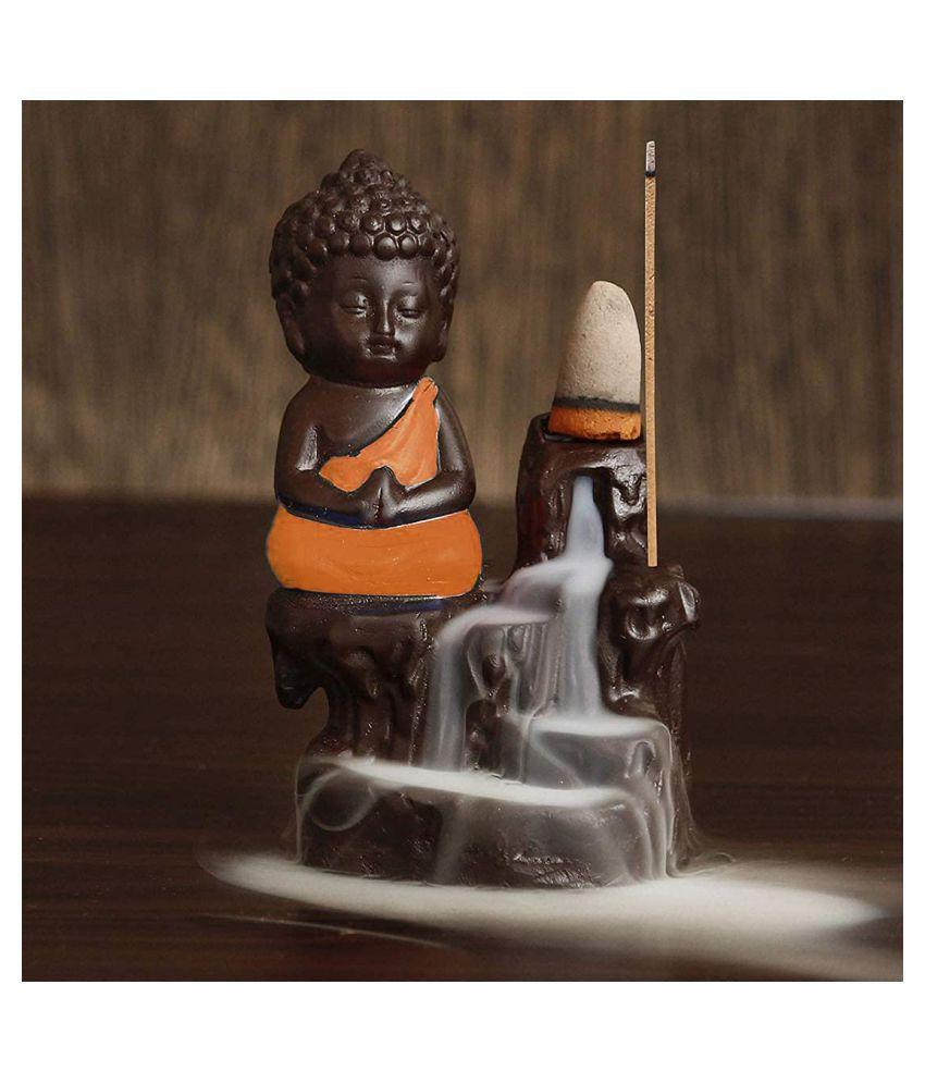 Hoya Quality Orange Resin Monk Buddha Smoke Backflow - Pack of 1