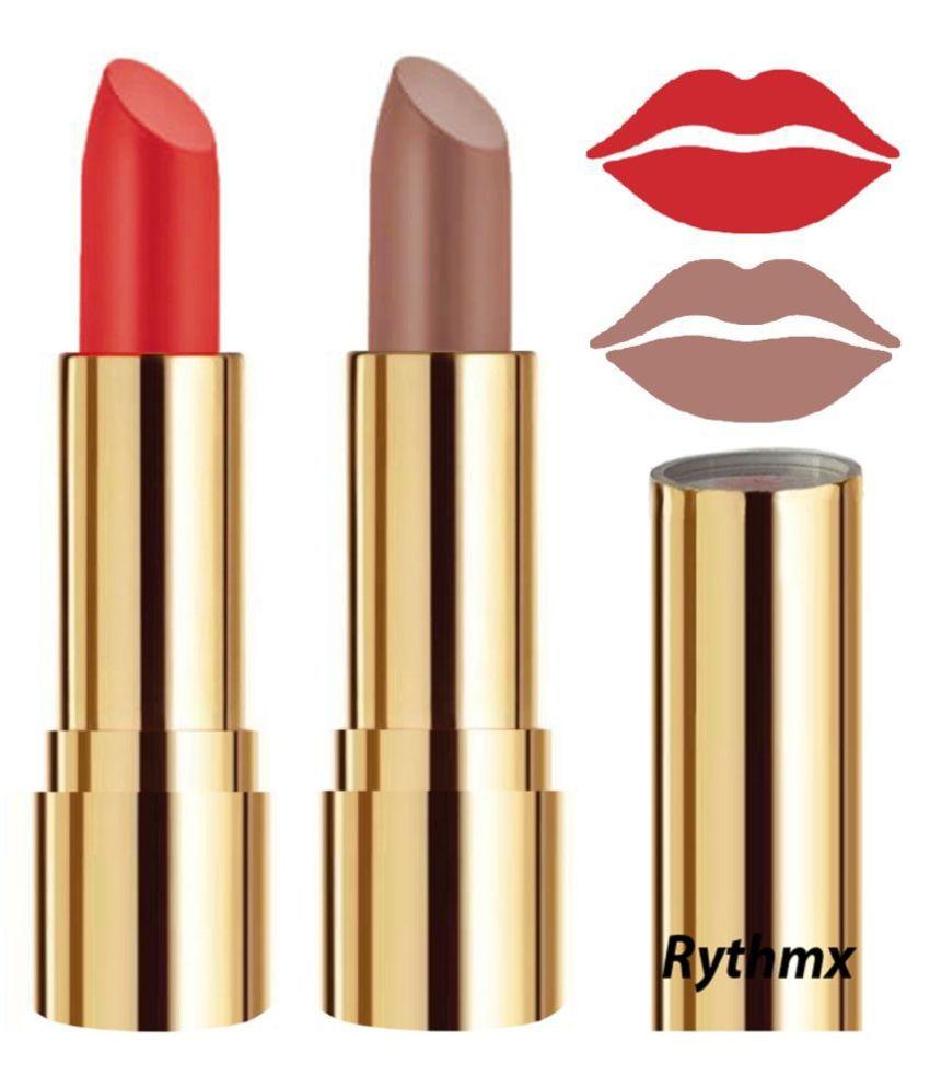 Rythmx Orange,Nude Matte Creme Lipstick Long Stay on Lips Multi Pack of 2 8 g