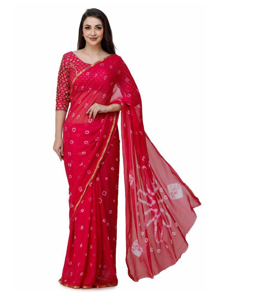 triple sense Pink Chiffon Saree