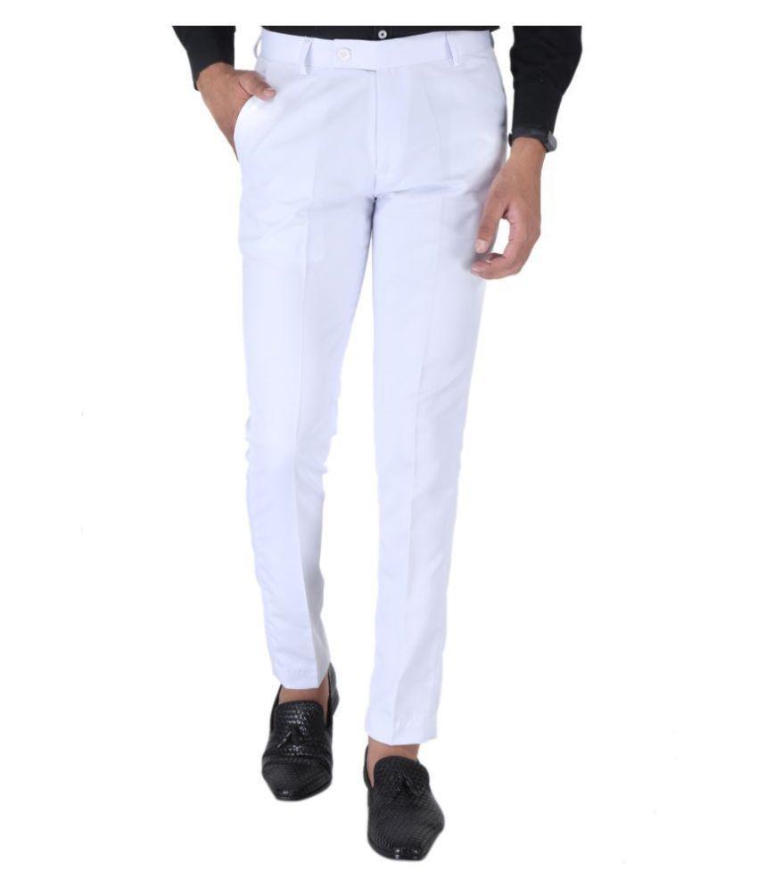 SREY White Slim -Fit Flat Trousers