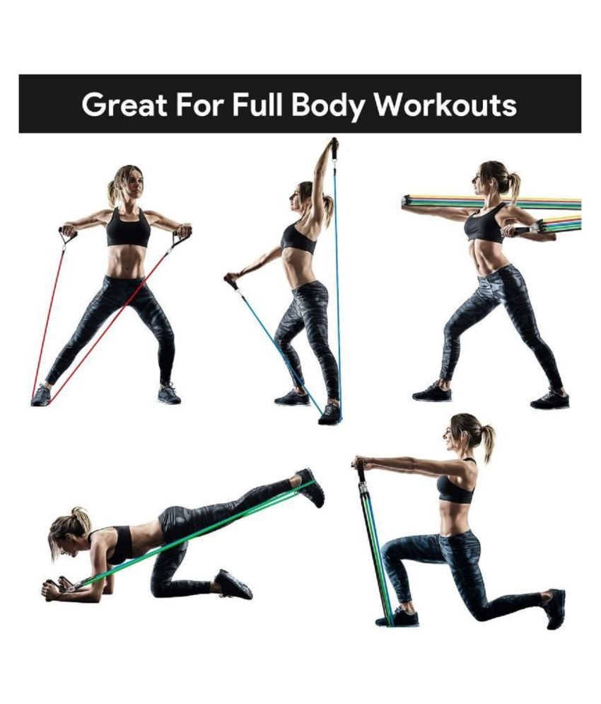 Intresting 11 Pcs Portable Fitness Exercise Bands with Handles, Training Tubes with Anchor and Ankle Straps