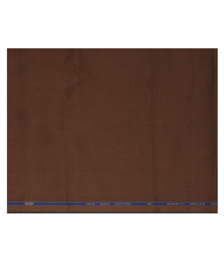 J Hampstead Brown 100 Percent Cotton Unstitched Shirt pc