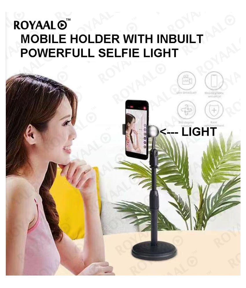 ROYAAL  INBUILT SEL-FIE LIGHT MOBILE HOLDER  Adjustable Broadcasting and Recording Desktop Phone Holder