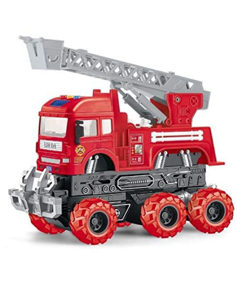 VBE  6x6 Wheeler Fire Rescue Truck Toy Friction Powered Unbreakable Truck with Light & Sound Engineering Toys For Boys And Girls