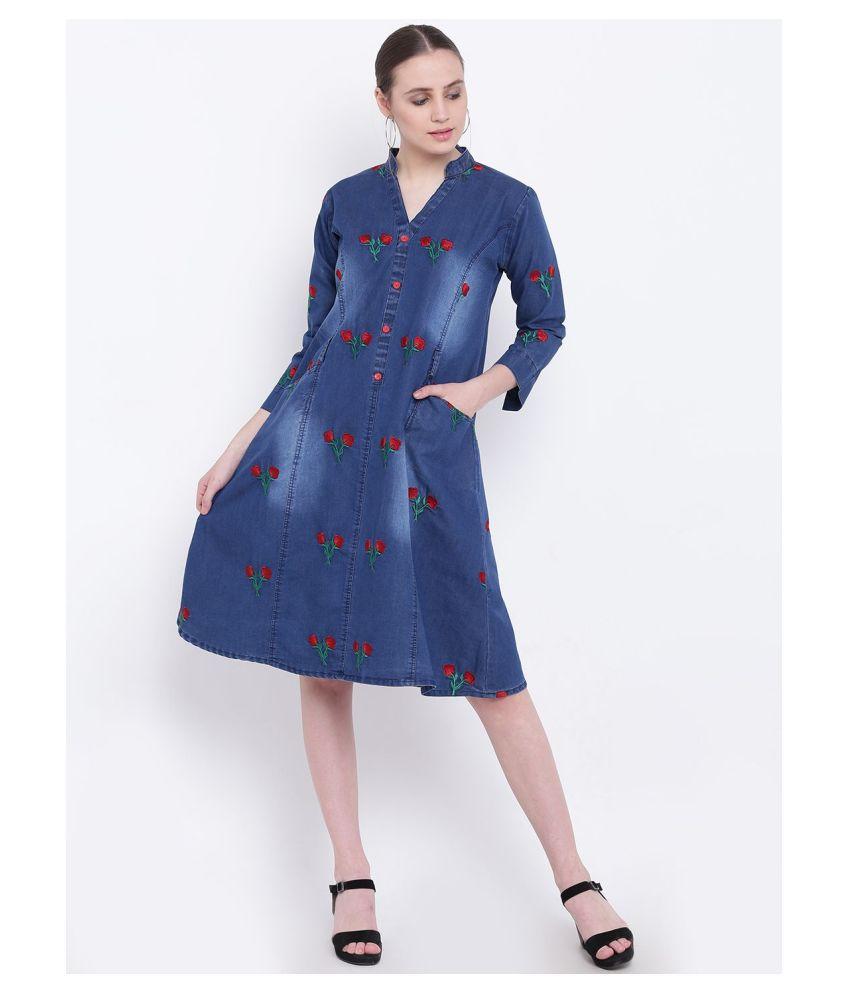 pinky pari Denim Blue A- line Dress