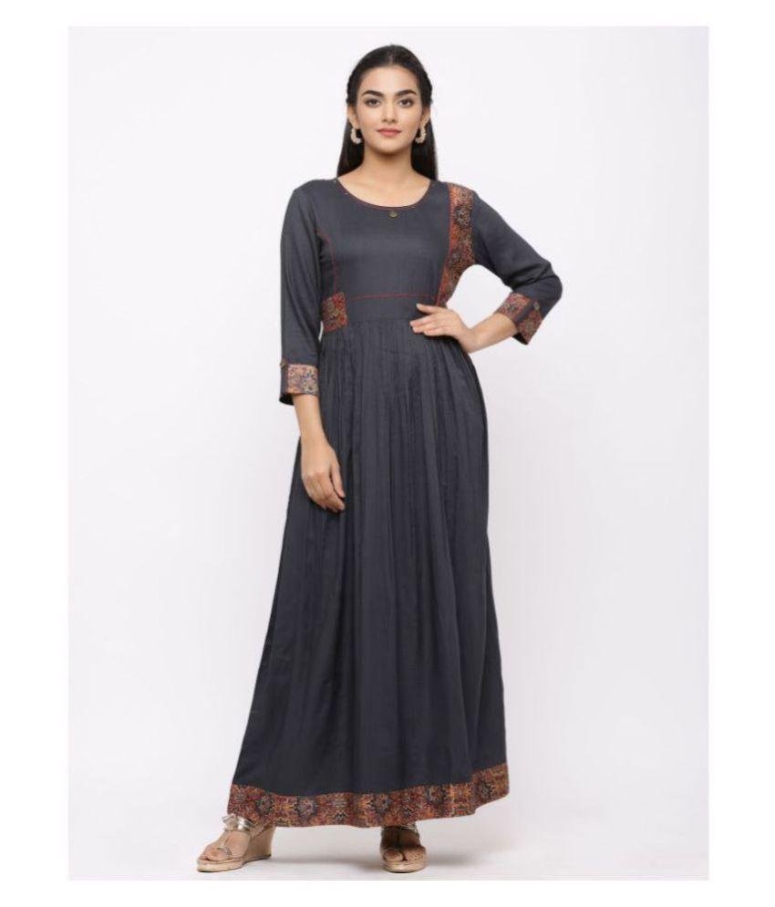 Charu Rayon Grey A- line Dress