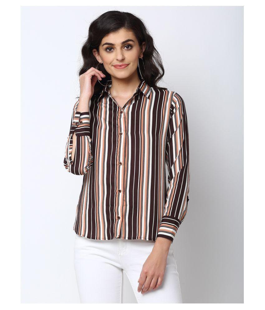 Enchanted Drapes Brown Poly Crepe Shirt