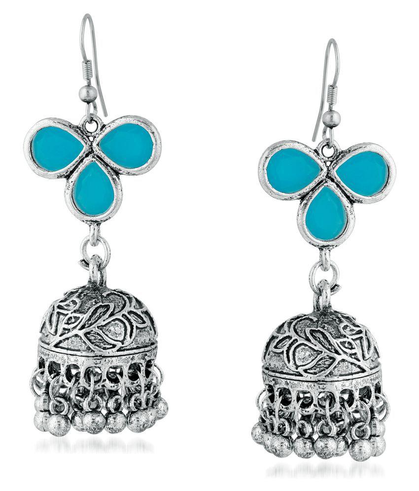 Stefan Traditional Oxidised Plated Firozi Color Kundan Jhumki Earring For Women CJ100145SBLU