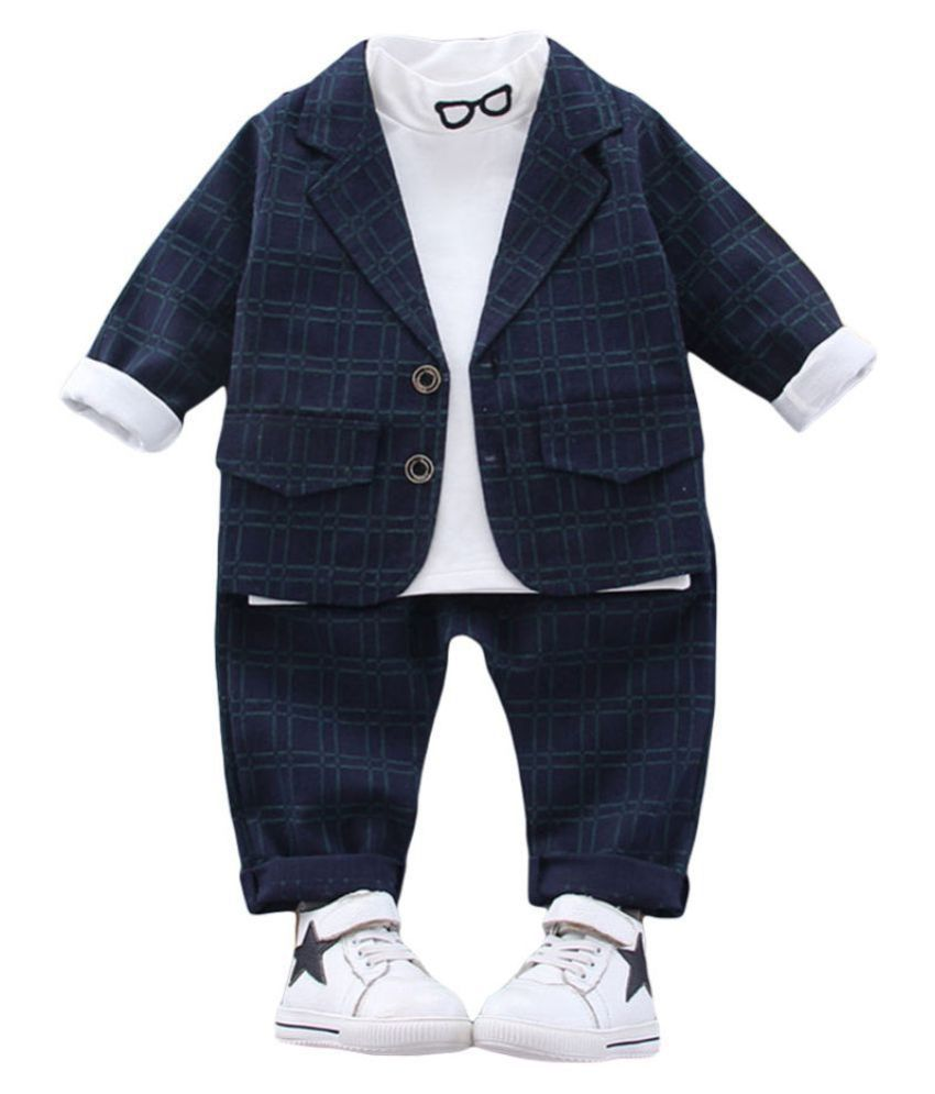 Hopscotch Boys Cotton And Spandex Checks Full Sleeves Blazer With T-Shirt And Pant Set in Navy Color For Ages 3-4 Years (YF0-2909082)