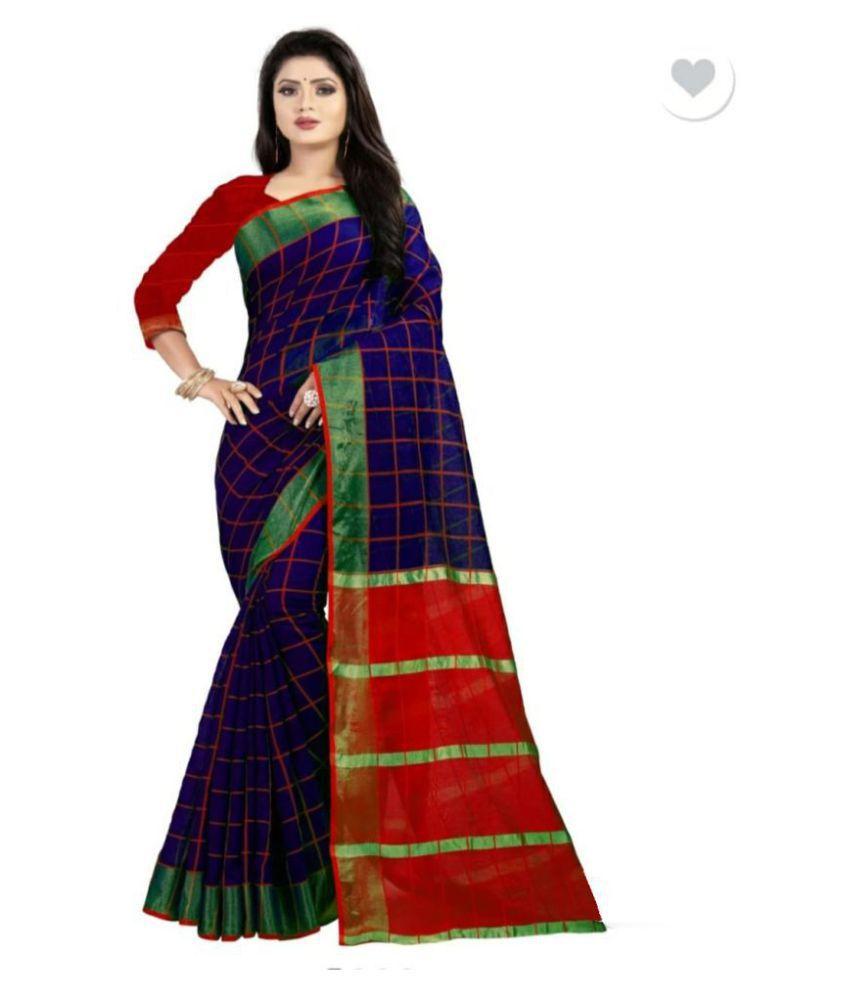 Manvaa Blue Cotton Silk Saree