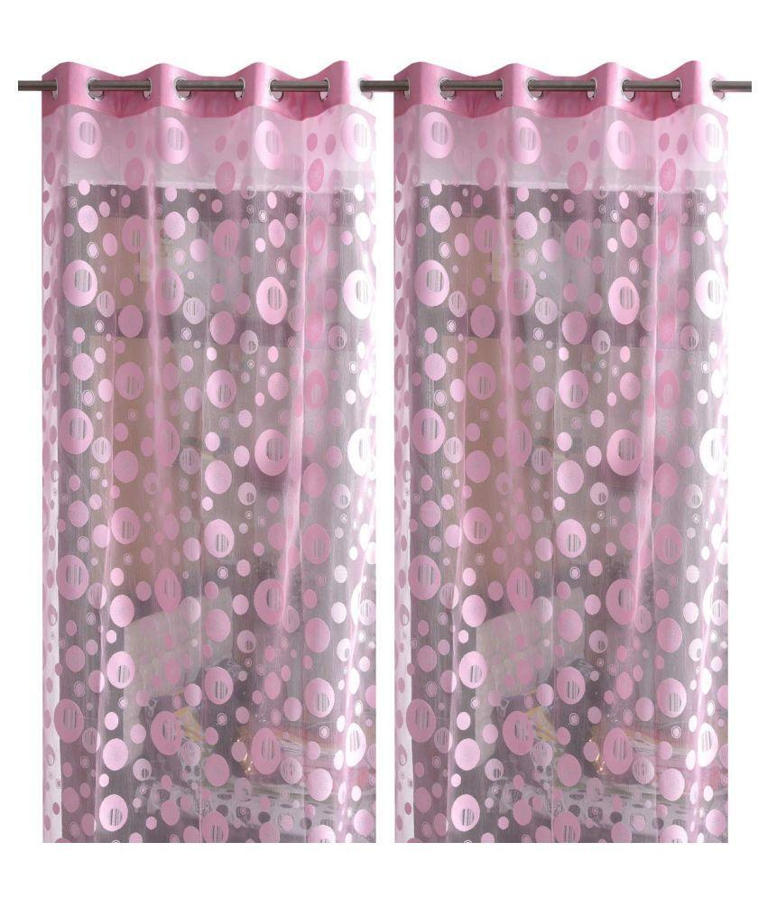 garg cotex pvt ltd Set of 2 Door Transparent Eyelet Net Curtains Pink