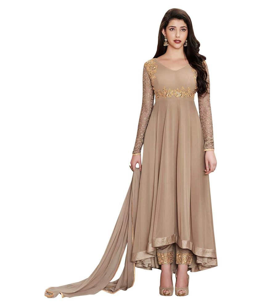 THE 9192 Brown Georgette High Low Hemline Semi-Stitched Suit