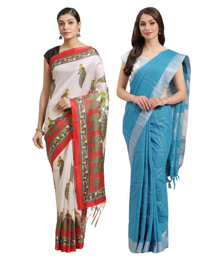 Alyaka White Silk Saree