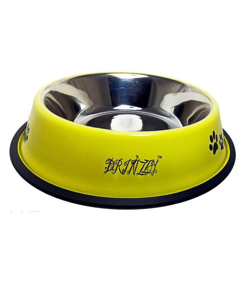 Drinzzy Stainless Steel Anti Skid Yellow Dog Bowl  1600ml