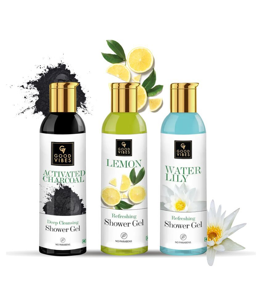 Good Vibes Body Wash Bestsellers Combo Kit (Activated Charcoal 200ml + Lemon 200ml + Waterlily 200ml)