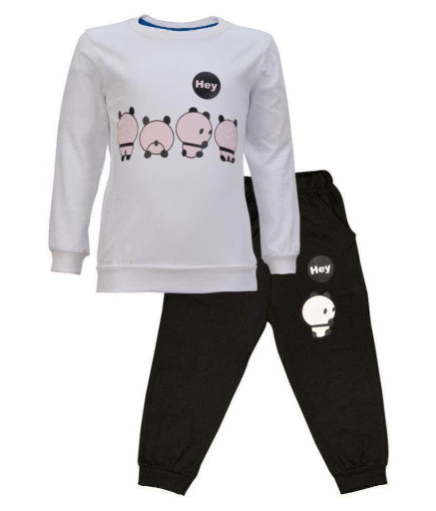 Catcub Kids Panda Combo Top & Pant Set (White)