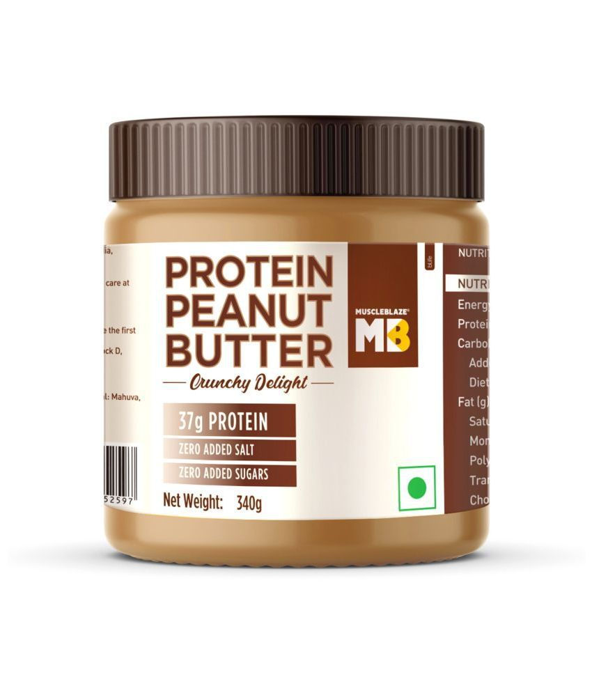 MuscleBlaze High Protein Natural Peanut Butter Unsweetened, 340g Crunchy Delight
