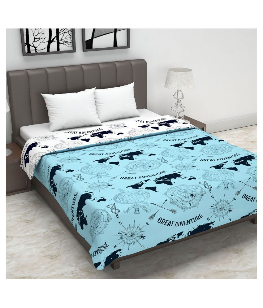 DIVINE CASA Double Polyester Blue Abstract Dohar