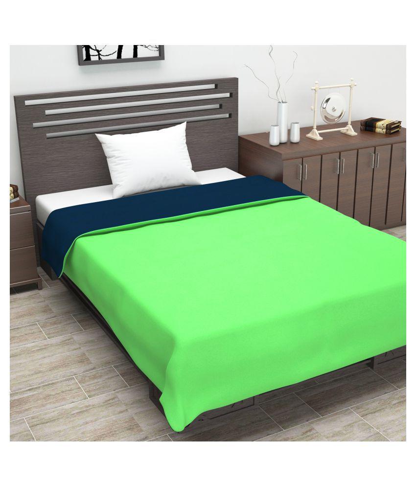 DIVINE CASA Single Polyester Green Plain Dohar