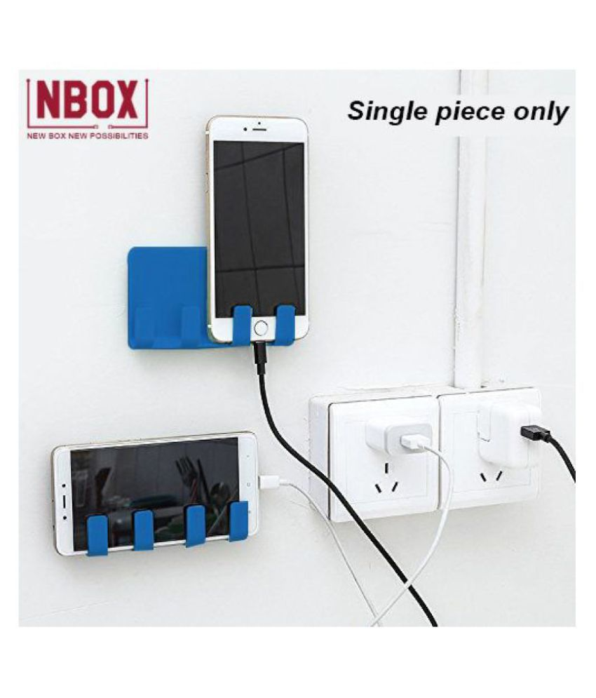 NBOX Wall Mount Phone Holder with Adhesive Strips, Charging Holder Compatible with all Smartphone and Mini Tablet (1 Pcs) - Blue