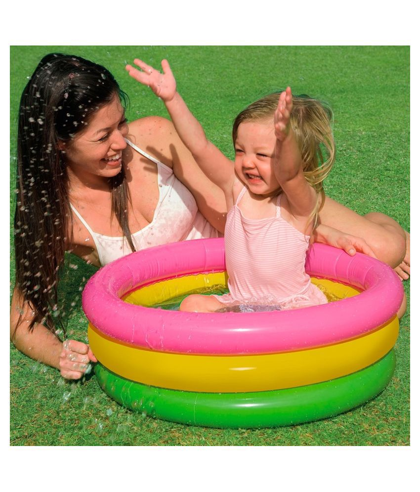 VBE 2 Feet Inflatable 3 Ring Water Pool Kids Swimming Pool for Kids Fun Activities (2 Ft)