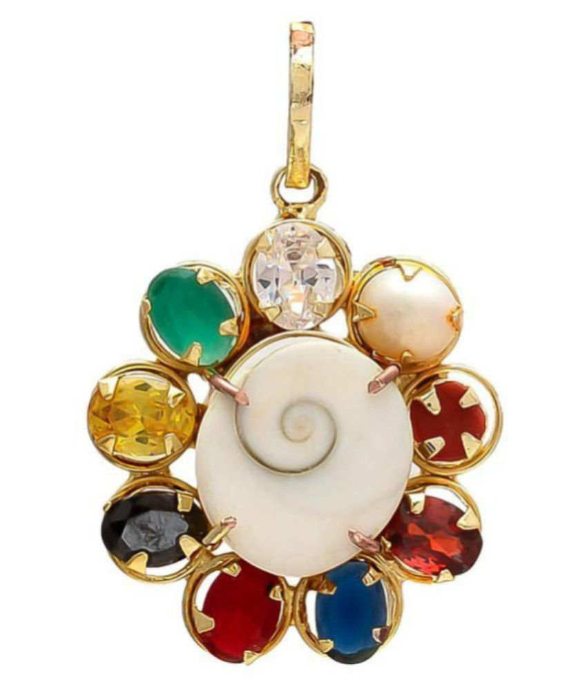 bhaune collections Multicolour Synthetic Navratna Gomti Chakra Brass Pendant for Men and Women