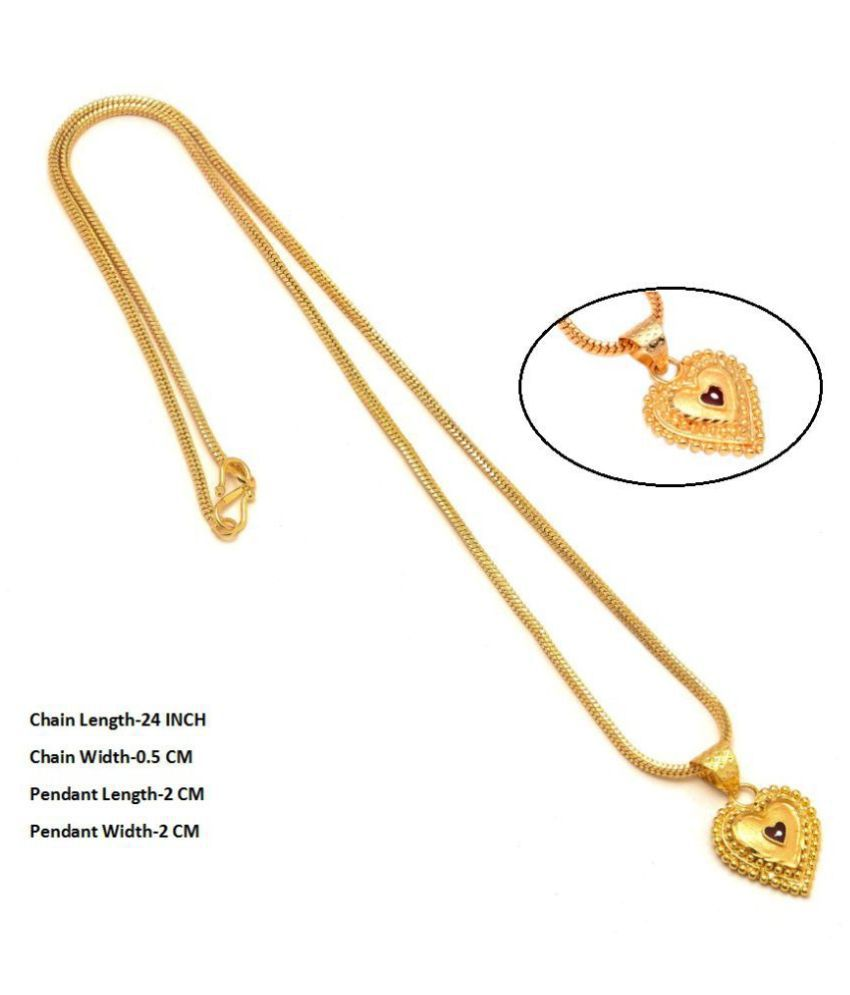 Jewar Mandi Neck Chain 24 Inch Gold Plated With Pan Locket/ Hurt Pendant Real Look Daily Use Gold Brass & Copper Jewelry for Women & Girls 7929