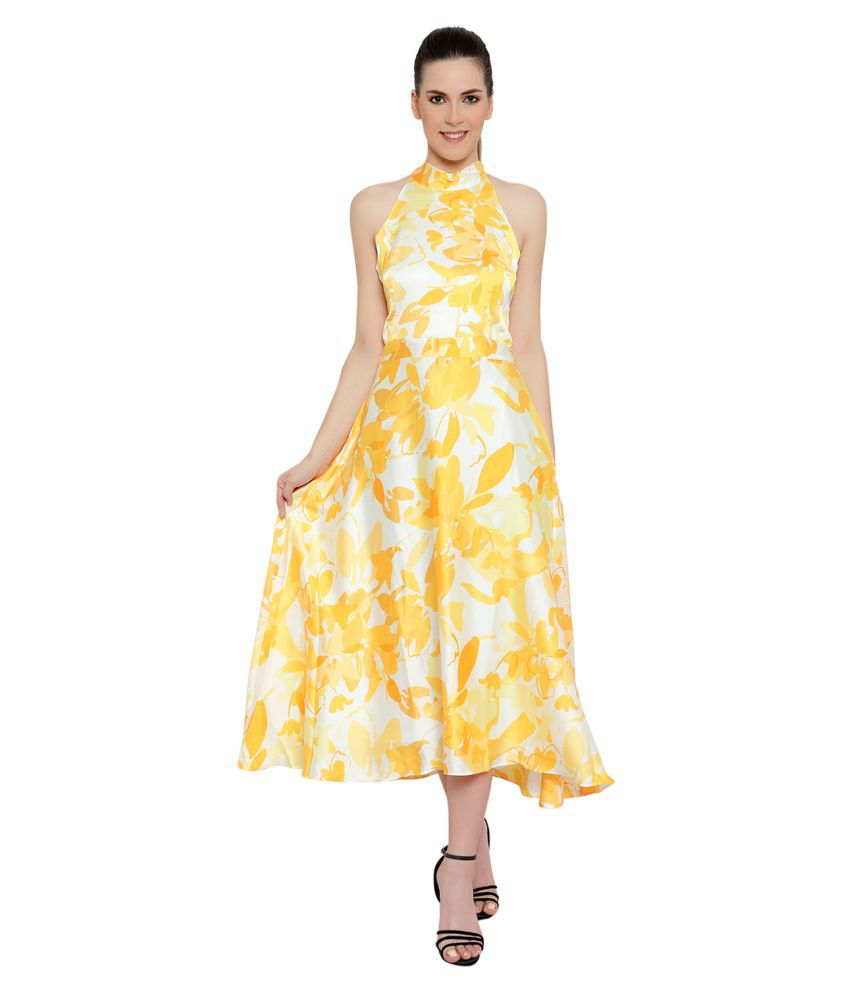 AMAGYAA Polyester Yellow A- line Dress