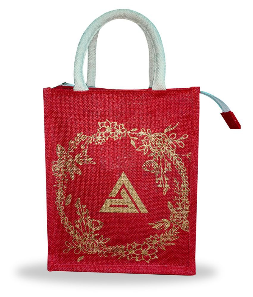 H JUTE BAGS Red Lunch Bags   1 Pc
