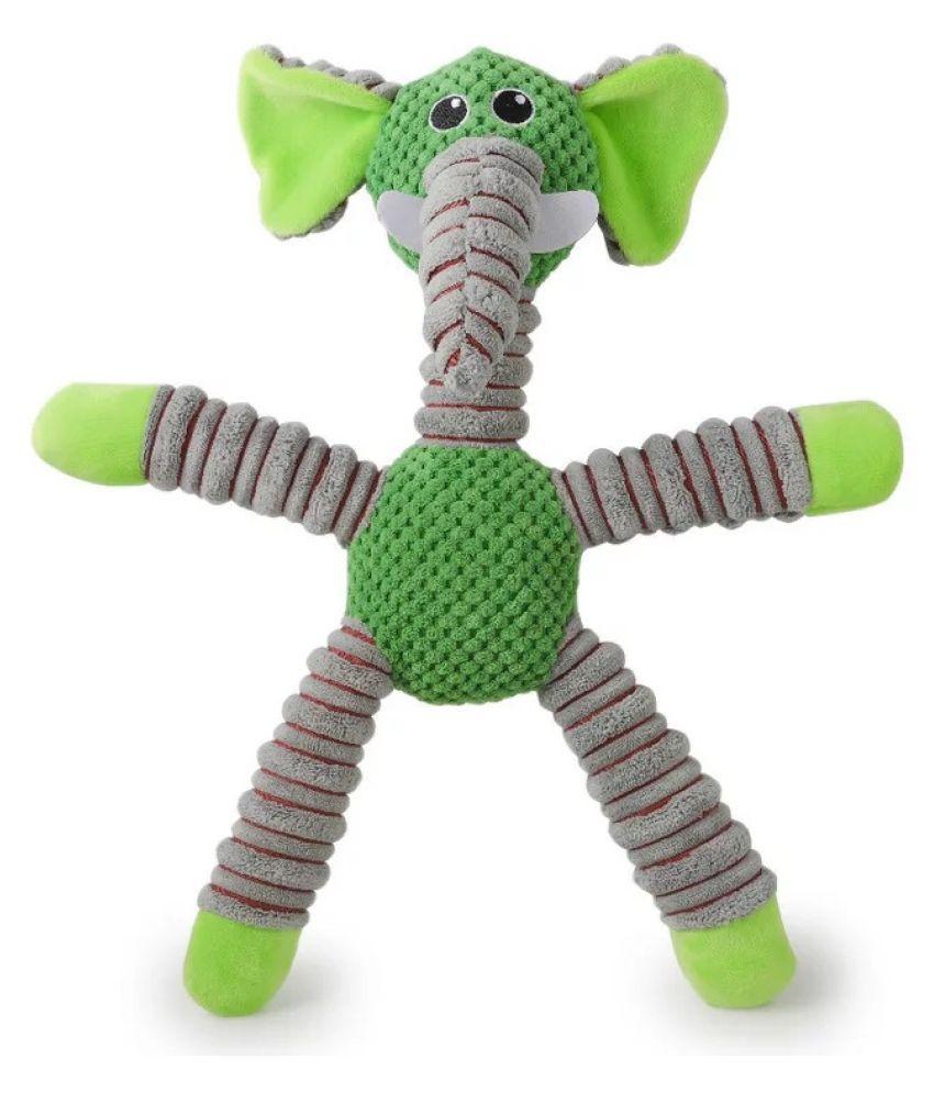 KUTKUT 42-Cm  Stuffed Squeaky Animal Plush Chew Toy for Puppy Small Medium Dogs Reducing Boredom (Green)
