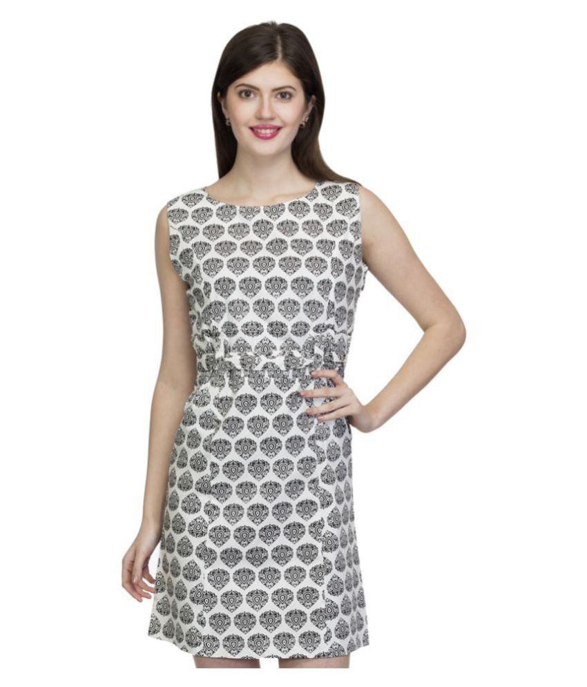 One Femme Cotton White A- line Dress