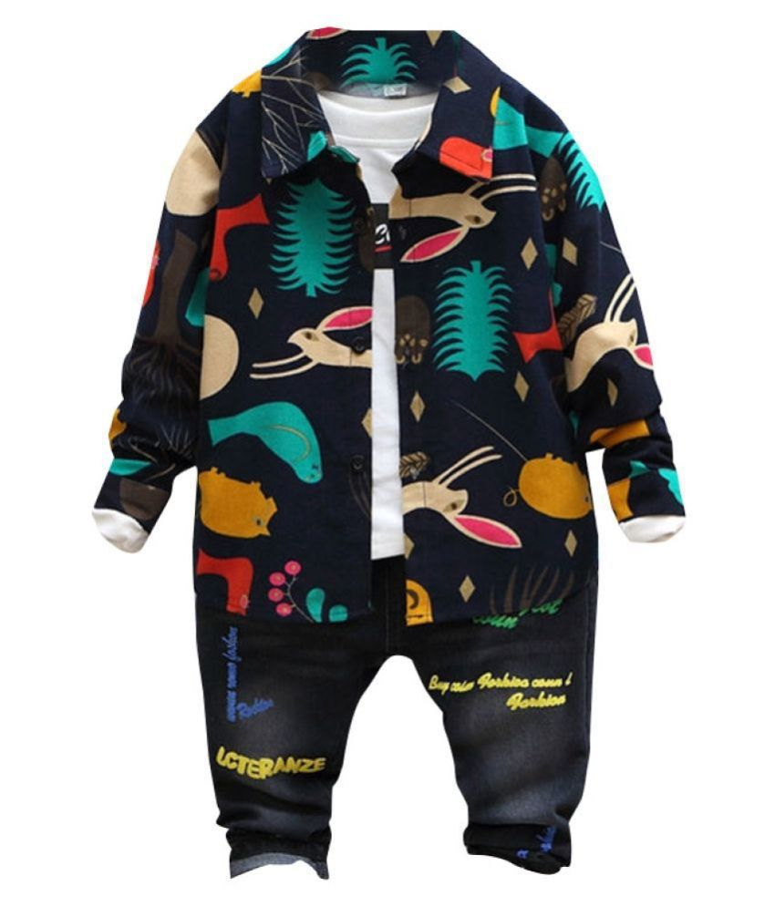 Hopscotch Boys Cotton And Polyester Full Sleeves Animal Art Shirt in Navy Color For Ages 7-8 Years (ADX-3114319)
