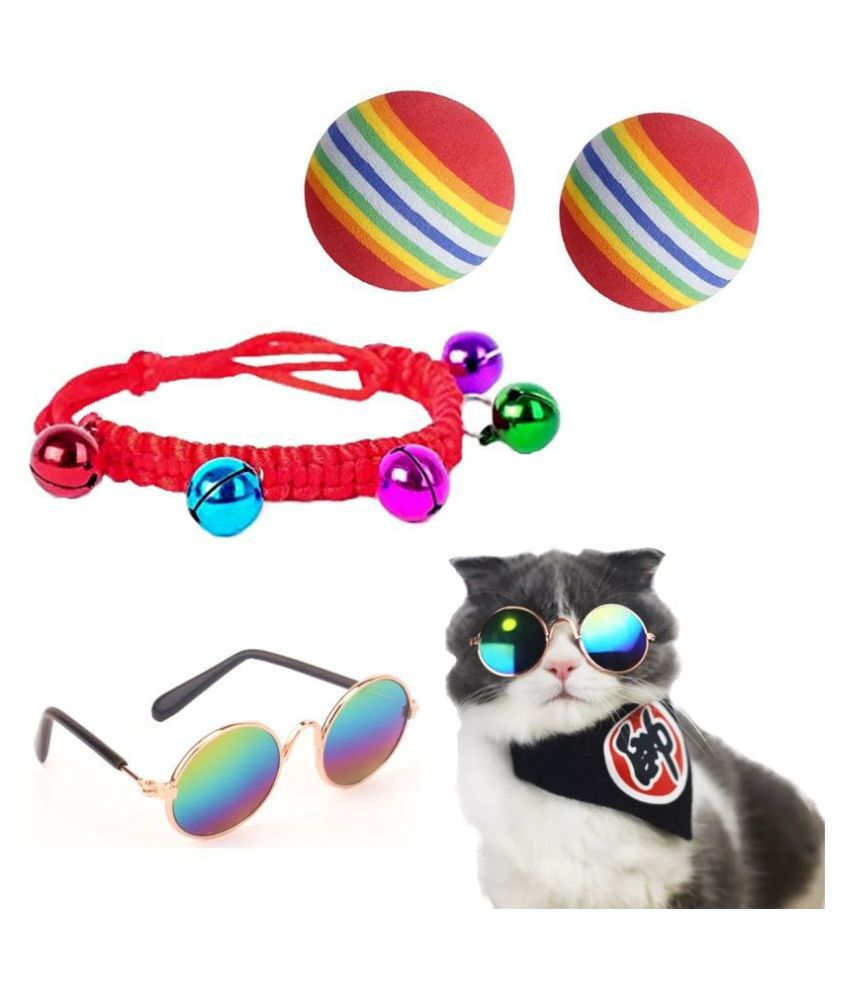 KUTKUT Combo of 2pc Bouncy Balls , 1pc Cat Glasses and 1 pc Hand Made Bell Necklace