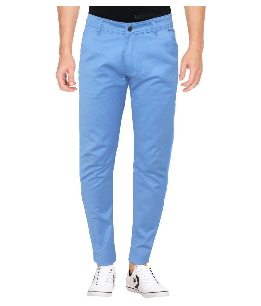 HYMEN LEGIONS Light Blue Regular -Fit Flat Trousers