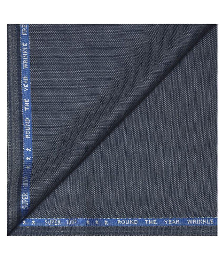 J Hampstead Blue Woollen Unstitched Suit Piece